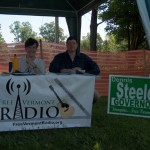 Matt and Dennis at the Bluegrass Festival Booth